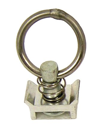 Pit Posse Single S Track Anchor Tie Down Rail Stud Ring Spring Loaded (Silver)