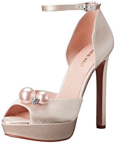 Nine West Women's Vidah Satin Dress Sandal, Off White, 7.5 M US - Nine West Satin Shoes
