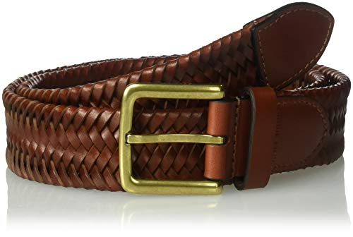 Cole Haan Men's 35mm Woven Leather Belt, british tan, 34 (For Belts Leather Men Braided)