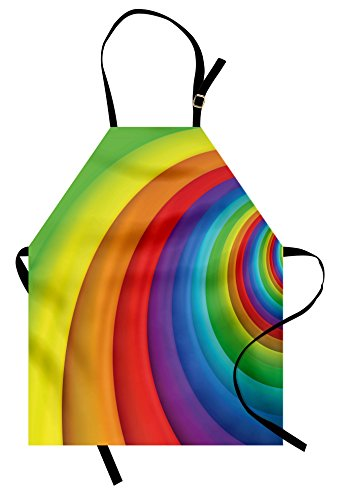 Lunarable Rainbow Apron, Rainbow Colored Half Circles Getting Bigger and Bigger Perspective Computer Graphic, Unisex Kitchen Bib Apron with Adjustable Neck for Cooking Baking Gardening, (Rainbow Apron)