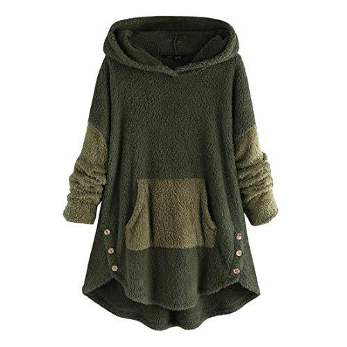 [해외]Women Plus Size Hooded Sweatshirt Coat Warm Fleece Patchwork Button Plush Oversized Sweater OutwearPockets / Women Plus Size Hooded Sweatshirt Coat Warm Fleece Patchwork Button Plush Oversized Sweater OutwearPockets