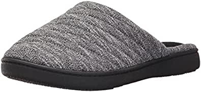 Isotoner Women's Space Knit Andrea Clog Slipper, Black, Large/8.5-9 Standard US Width US