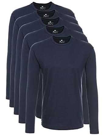 Lower East Camiseta de manga larga de hombre, para el deporte y el ocio, set de 5, Azul, L