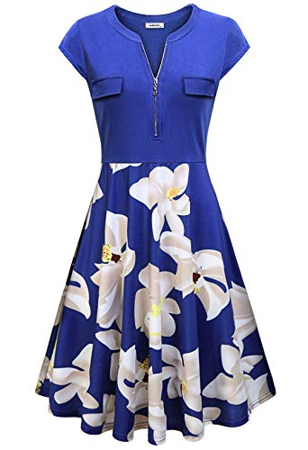 Morticia Dress Pattern (AxByCzD Figure Flattering Dress,Church Semi Formal Frocks Loose Wedding Floral Aline Swing Dress Casual V Neck Cap Sleeve Cotton Blend Knee Length Tunic Dress Plus Size Summer Comfy Clothes Blue)