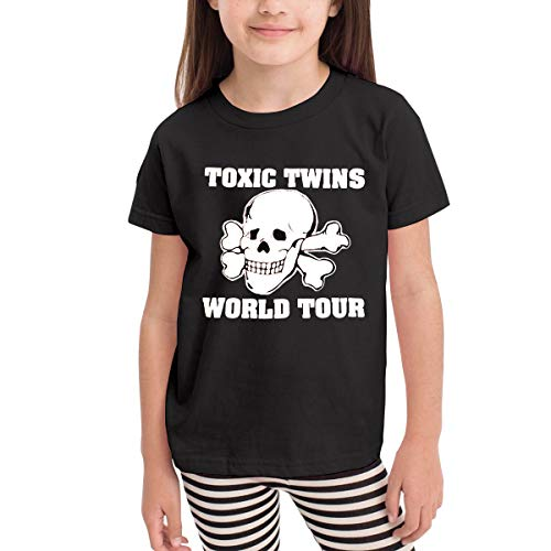 Huiliyuanshiye Design Unisex Boys Girls 80s Toxic Twins Tour Printing Short Sleeve T-Shirt,100% Organic Cotton Black (Toxic Tshirt Twins)