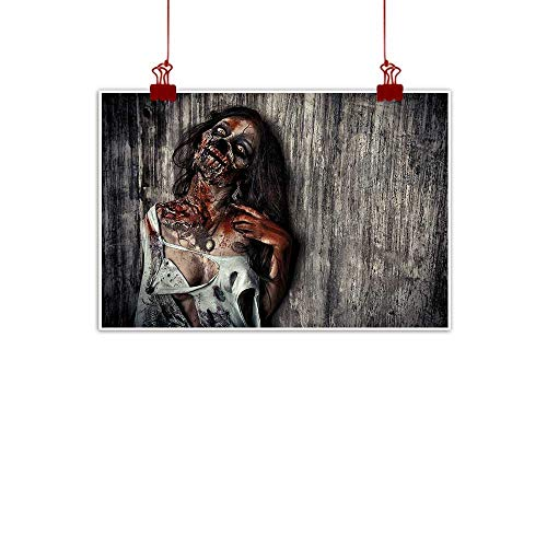 Sunset glow Wall Painting Prints Zombie Decor,Angry Dead Woman Sacrifice Fantasy Mystic Night Halloween Image,Dark Taupe Peach Red 20