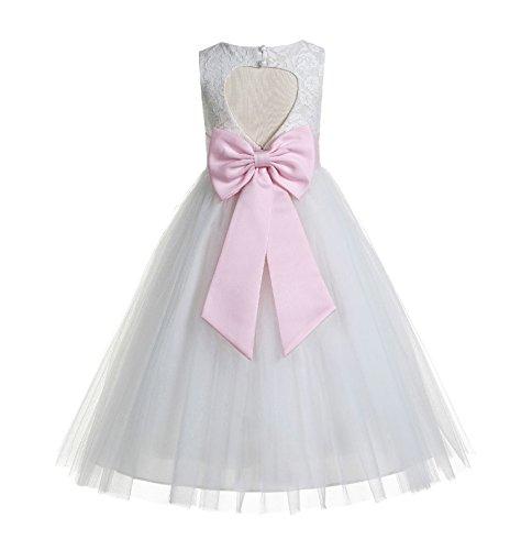 ekidsbridal Floral Lace Heart Cutout White Flower Girl Dresses Pink First Communion Dress Baptism Dresses 172T 4