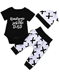 Infant Toddler Baby Boy Summer Clothes Outfits Cuekondy Letter Print Romper Tops T-Shirt +Pants +Hat Set Father's Day Gift