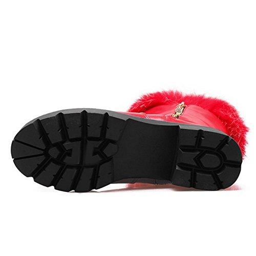 COOLCEPT Damen Warm Gefuttert Stiefel Zipper Red