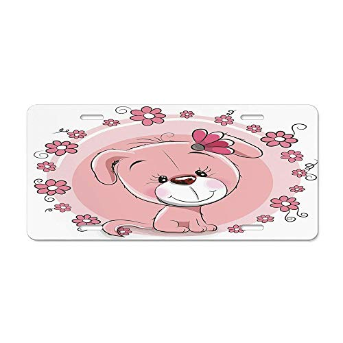 Dog,Cute Little Puppy with Daisy Flowers Cheerful Adorable Pet Girls Room Decor,Light Pink Coral White Custom Personalized Novelty Front License Plate Car Tag 12 x 6In