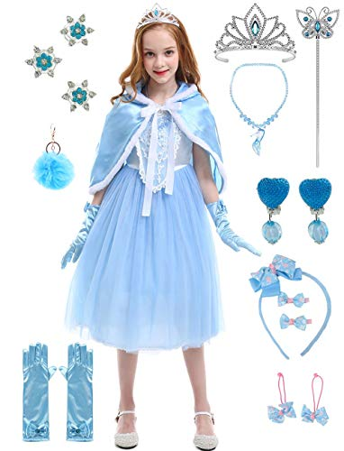 BARFFARI Girls Princess Dress Up Halloween Party Costumes Dresses (Light Blue, 4-5)