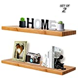 Floating Wall Shelves,Natural Bamboo,Corner Shelves,Display Ledge Shelf,Wall Mount Shelves,Wall Mount Display Rack,Home Decorative,Space Saving,Waterproof,Include Mounting Brackets,Set of 2 (16Inch)