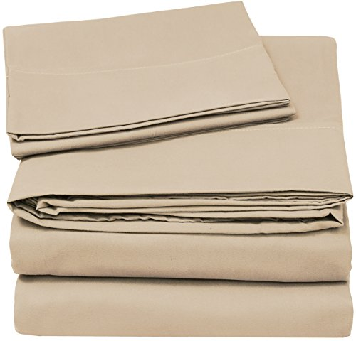Utopia Bedding Soft Brushed Microfiber Wrinkle Fade and Stain Resistant 4-Piece Queen Bed Sheet Set - (Queen Bed Sheets Beige)