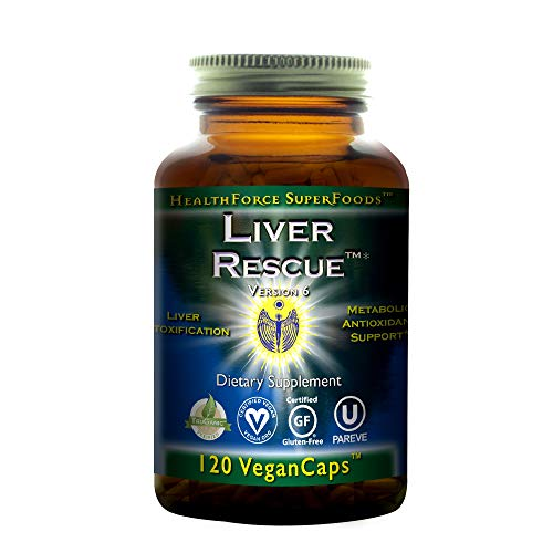 HealthForce SuperFoods Liver Rescue, Liver Detoxifier and Regenerator Supplement, All-Natural, Organic, Vegan, Essential Herb Extracts, 120 -