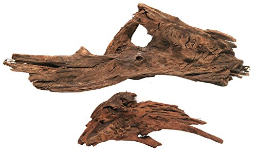 Real Malaysian Driftwood, 2 Pack, 1 Medium & 1 Small Piece, All Natural Driftwood for Fish Aquariums / Reptile Tanks by Malaysian Driftwood