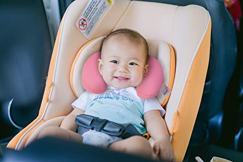 Baby Neck Pillow, Newborn Safety Head and Neck Support Pillow for Seat Car Travel, Recommended For Babies 0-6 Months. (Pink)