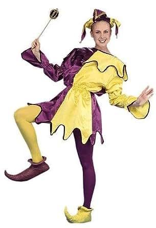Amazon Com Mardi Gras Purple Yellow Satin Jester Adullt