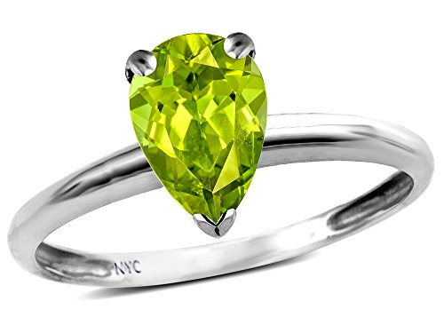 Star K Classic V prong Solitaire 8x6 Pear Shape Genuine Peridot Engagement Promise Ring 10k White Gold Size 7
