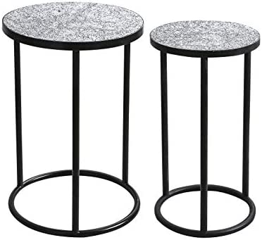 Whole Housewares Mosaic Black Metal Round Side Table – Plant Stand – Glass Top Indoor Outdoor Garden Patio Table Set of 2 Silver