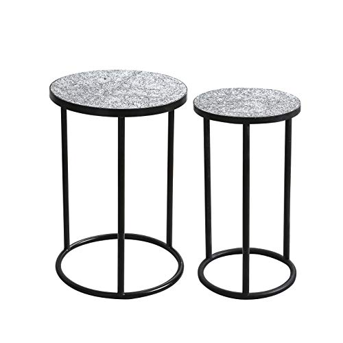 Mosaic Black Metal Round Side Table – Plant Stand – Bistro Table – Glass Top Indoor Outdoor Garden Patio Coffee Table Set of 2 Silver