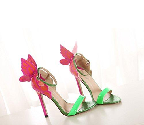 Feinem Stylisch Sandalen mit LIANGXIE Schmetterlingsabsatz High Kopf Runder Damen Grün Absatz Bequemer Heel mit qwtZYxZBa