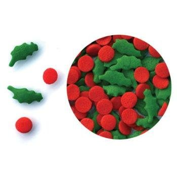 Holly Berries and Leaves Sprinkles/Quins, 2.5 Ounces