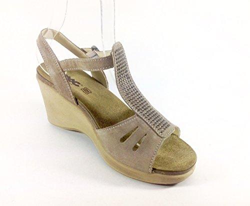 Sandalias Mujer de Ante con Cuña ergonómico Made in Italy 32951 Beige