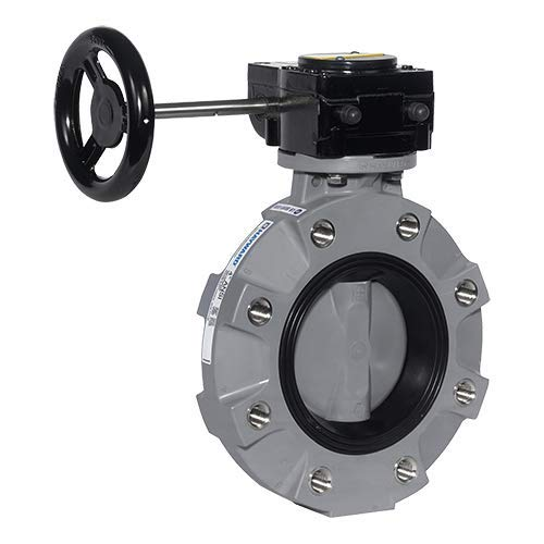 Hayward BYV22020A0VGI00 Series BYV Butterfly Valve, Lugged, Gear Operated, CPVC Body, CPVC Disc, VITON and FPM Seals, 2