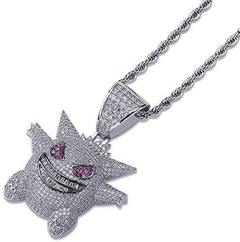 Pokemon Necklace Hip Hop Iced Out Rhinestone Crystal Necklace Diamond Necklace Stainless Rope Chain for Men Women