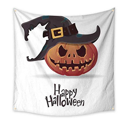 Anniutwo Tapestry Dorm Halloween Pumpkin Carving in Black Witch hat Cartoon Vector Dorm Living Room Bedroom 70W x 70L -