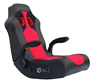X-Rocker 5172801 Ace Bayou Vibe Sound Chair with Arms, Black/Red