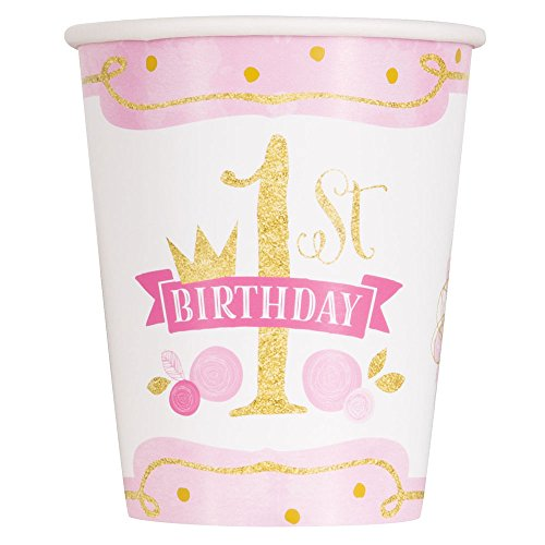 9oz Pink and Gold Girls 1st Birthday Party Cups, 8ct (Uk Bowl Punch)