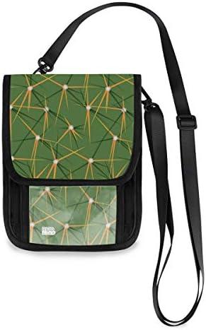 トラベルウォレット ミニ ネックポーチトラベルポーチ ポータブル 緑のサボテン 小さな財布 斜めのパッケージ 首ひも調節可能 ネックポーチ スキミング防止 男女兼用 トラベルポーチ カードケース