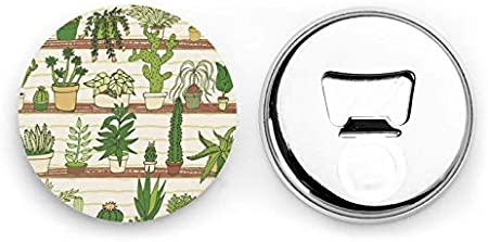 Cactus Planta Tropical Abrebotellas redondas / Imanes de nevera Sacacorchos de acero inoxidable Etiqueta magnética 2 piezas