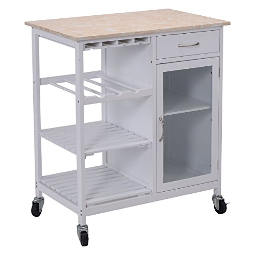 Giantex Portable Kitchen Rolling Cart Faux Marble Top Island Serving Utility W/Cabinet (Kitchen Cabinet Faux Drawer compare prices)