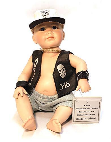WWF Little Stone Cold Porcelain Doll by Danbury Mint -