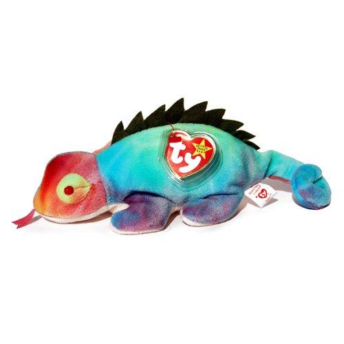 Ty Beanie Babies RAINBOW the Chameleon tye dye Iguana (With Iggy tags, Frills on Back, and Has Tongue) - Dye Beanie Baby Ty
