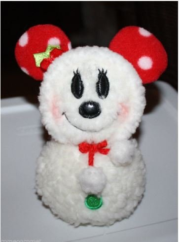 [Minnie Mouse White Fluffy Snowman Plush with Leather Like Eyes and Nose - 8 Inches] (Minnie Mouse Nose)