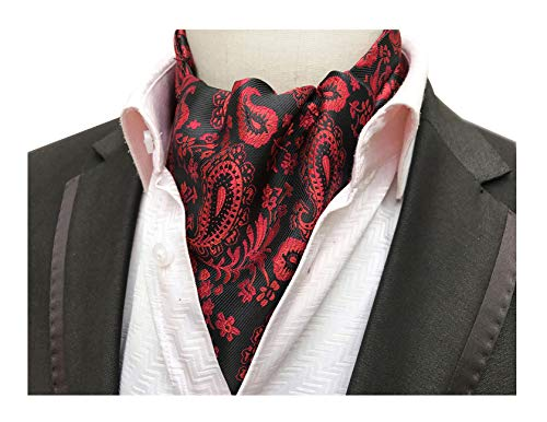 Men Junior Paisley Jacquard Woven Silk Cravat Formal Self Tie Ascot Modern Basic Designed Retro Groomsmen Wedding Necktie