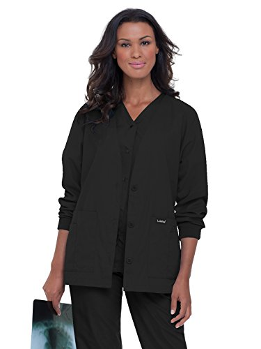 Landau Essentials Women's Cardigan Warm-up Scrub Jacket Black L