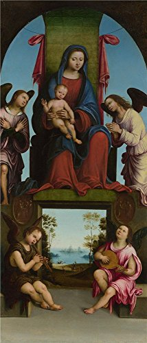 'Lorenzo Costa The Virgin And Child ' Oil Painting, 20 X 47