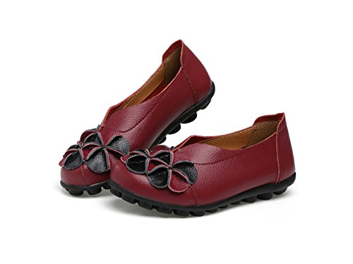 Flower Verocara Burgundy Flat Driving Womens Casual Leather Shoes Loafers UUcHpExCwq