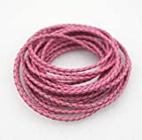 Glory Qin Round Folded Bolo Braided Genuine Leather Cord for Making Bracelet & Jewelry (Pink, 3mm)