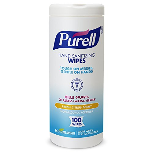 PURELL 9111-04-EC Sanitizing Wipes, 100 Count Canister (Case of 4) by Purell