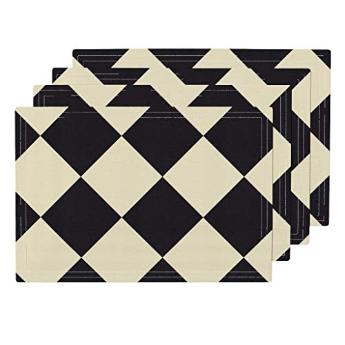 (Roostery Harlequin 4pc Organic Cotton Sateen Cloth Placemat Set - Checkered Cream Black Chessboard Checkerboard Square by Peacoquettedesigns (Set of 4) 13 x 19in)