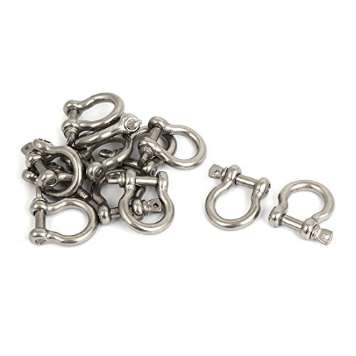 dealmux-m4-stainless-steel-d-ring-bow-shackle-u-lock-chain-buckle-12-pcs