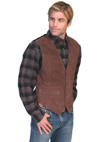 (Scully Men's Suede Leather Vest Espresso X-Large)