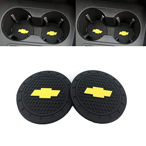 Ldntly 2.75 Inch Diameter Car Cup Holder Coasters,Oval Tough Car Logo Vehicle Travel Auto Cup Logo Heavy Duty Rubber Coaster 2 pcs Set,Car Cup Holder Compatible with C hevrolet from Ldntly