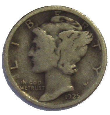 1925 P Silver Mercury Dime 10c Very Good