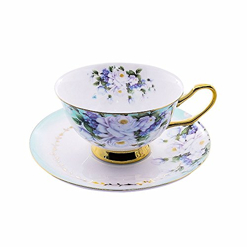 ACOOME Tea or Coffee Cup-6.8oz Bone China Royal Series Beautiful Flowers Tea Cup with Matching Saucer(Blue - Edge Saucer Tea